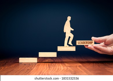 Personal development to be leadership concept. Mentor or coach motivate businessperson to personal growth to be better leadership. Motivation to do next step to success.