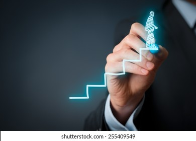 Personal development, personal and career finished growth, success, progress, motivation and potential concepts. Coach (human resources officer, supervisor) helps employee with his growth.