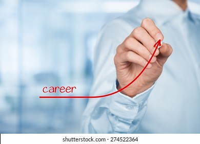 Personal development, personal and career growth. Coach (human resources officer, supervisor) help employee with his growth, blurred office in background.