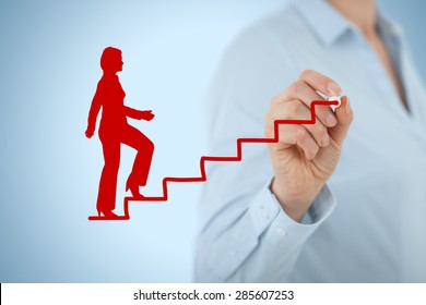 Personal development, personal and career growth. Coach (human resources officer, supervisor) help female employee with his growth.