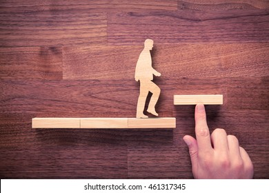 Personal development, personal and career growth, progress and potential concepts. Coach (human resources officer, manager, mentor) motivate employee to growth.