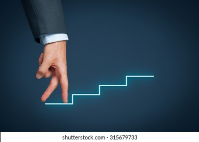 Personal development, personal and career growth represented by hands climbing sketched stairs.