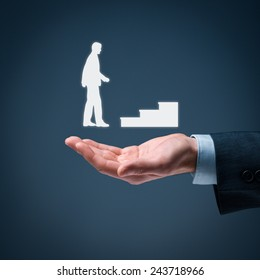 Personal development, personal and career growth, success, progress and potential concepts. Coach (human resources officer, supervisor) and help employee with his growth symbolized by stairs.