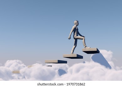 Personal development concept growing up. Sky is the limit, success and career growth concept.