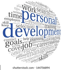 Personal development concept in word tag cloud on white