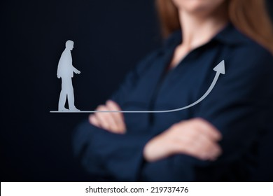 Personal development (personal growth), success, progress and potential concepts. Woman coach (human resources officer, supervisor) in background supervise businessman growth.
