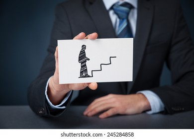 Personal development (personal growth), success, progress and career concepts. Male coach (human resources officer, supervisor) with card and drawn stairs to help employee with career growth.