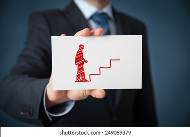 Personal development (personal growth), success, progress, potential and career concepts. Coach (human resources officer supervisor) with card and drawn stairs to help employee with his career growth.