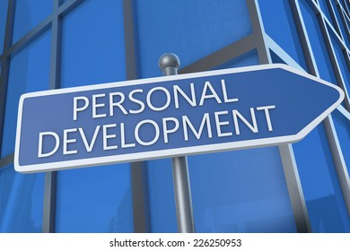 Personal Development - illustration with street sign in front of office building.