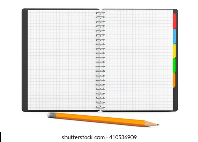Personal Diary or Organiser Book with Blank Pages and Pencil on a white background. 3d Rendering