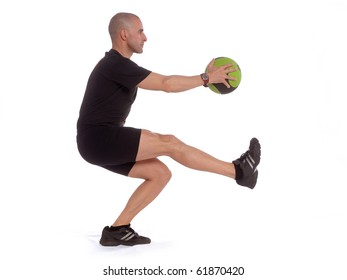 Personal fitness trainer (coach) exercising over white background