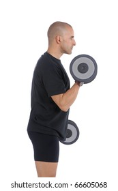 Personal fitness trainer (coach) exercising with dumbbells over white background