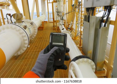 Personal H2S Gas Detector,Check gas leak. Safety concept of safety and security system on offshore oil and gas processing platform, hand hold gas detector.