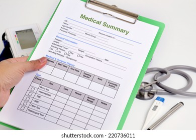 personal medical record form on clipboard stock photo edit now