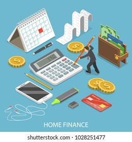 Personal home finance flat isometric concept. Man is calculating a budget surrounded by corresponding attributes.