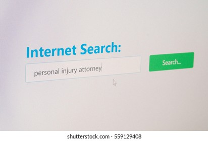 Personal Injury Attorney - Internet Search form concept for medical expense reimbursement and compensation by law
