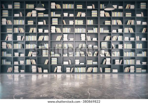 Persönliche Bibliothek mit großem Bücherregal und betoniertem 3D-Render