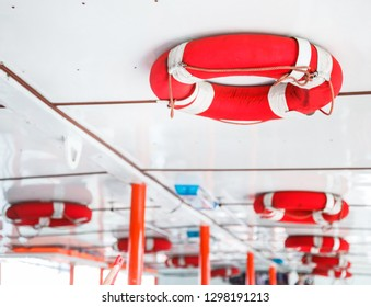 Personal life support flotation safety device (life buoy) for swimmers, passengers or marine personnel working on boat or area exposed to water. Drowning Protection Equipment for Marine Transportation