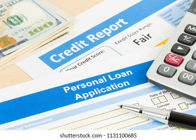 Personal loan application form fair credit score with calculator, dollar money, and pen