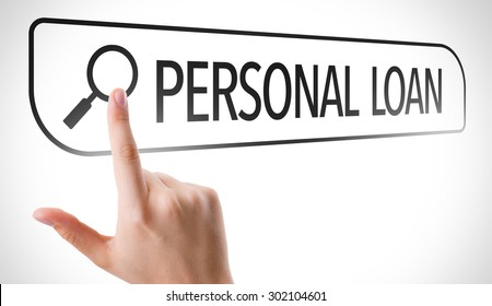 Personal Loan written in search bar on virtual screen