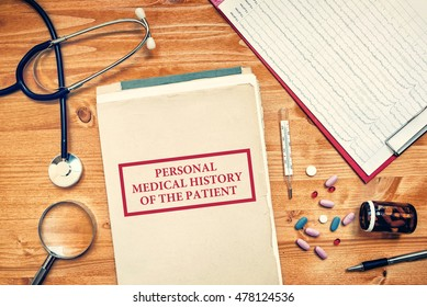 Personal medical history of the patient, healthcare concept with doctor's workspace top view