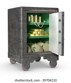 A personal safe with door opened, showing gold, pears, diamonds, bags of cash and coins isolated on a white background