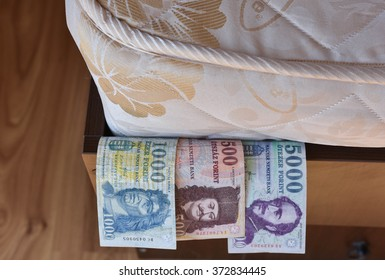 Personal savings, hungarian money, under the bed mattress