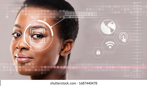 Personal surveillance concept. Iris scan of African American girl, creative collage with info on transparent screen. Copy space. Panorama