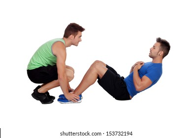 Personal trainer and boy making abdominal isolated on a white background