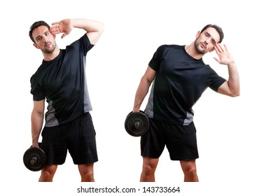 Personal Trainer doing dumbbell side bends for training his abs, isolated in white