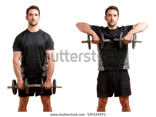 Personal Trainer doing dumbbell upright row for training his deltoids, isolated in white