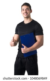 Personal trainer in a gym holding a notepad isolated in white