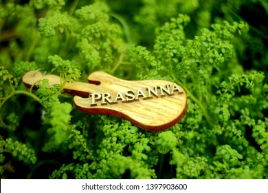 Personalised wooden guitar keychain of name Prasanna