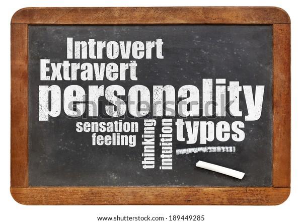personality types word cloud on a vintage blackboard