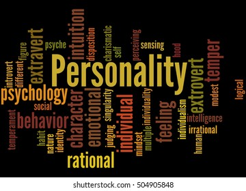 Personality, word cloud concept on black background.