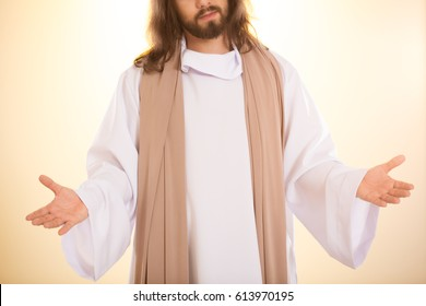 Personification of resurrected Messiah standing with arms open