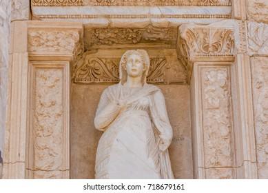 Personification of Virtue, Arete Statue  in Ephesus historical ancient city, in Selcuk,Izmir,Turkey.