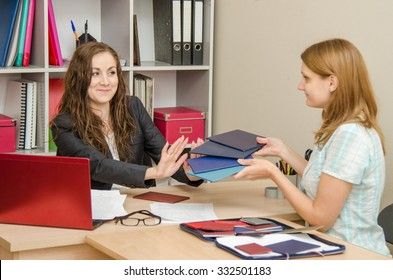 Personnel Specialist smiling girl refuses to look diplomas jobseekers