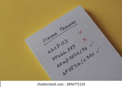 A person's choice of strong password with long alphanumeric character and symbols handwritten in notebook. Concept of securing personal data from being hacked, selective focus.
