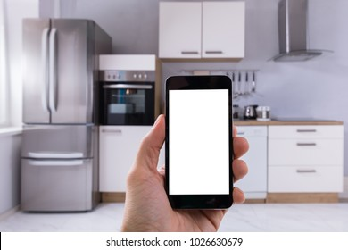Person's Hand Holding Mobile Phone With Blank White Screen