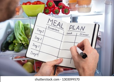 A Person's Hand Making List Of Food On Notepad In Front Of An Open Refrigerator