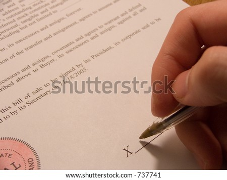 persons hand signing contract bill sale stock photo edit now