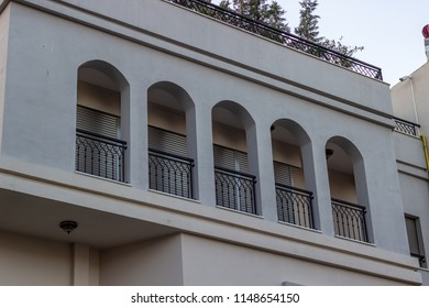 Perspective 2-storey building gray colored facade at Lesvos in Aegean region. Phot has taken in Greece.