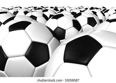 Perspective 3D rendering of a soccer ball. ( Leather texture )