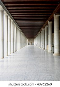 Perspective of agora with marble columns