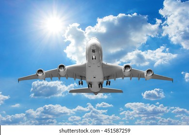 Perspective of airplane takeoff to the beautiful sky