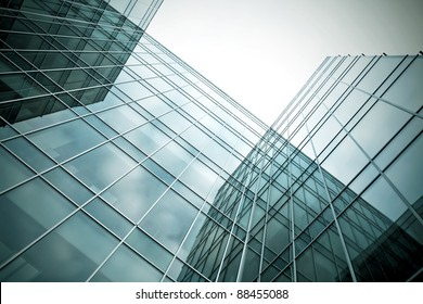 perspective angle view to high rise glass skyscrapers