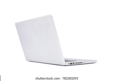 Perspective back view of Laptop isolated on white background, aluminum body.