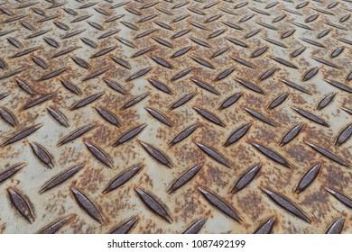 Perspective background of Old daimond plate floor background
