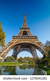 A perspective of the beloved Eiffel tower of Paris France in all its glory and wonder. A landmark that can not be topped by both its history beauty and structural complexity. A art piece for the ages.